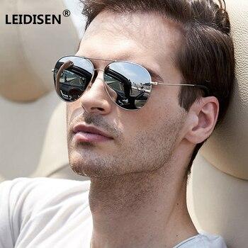 Gafas de sol ovaladas para piloto de gran tamaño de diseñador de marca LEIDISEN, gafas de sol para hombre y mujer, gafas de sol con montura metálica para conducir