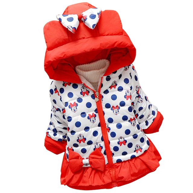 New Baby Meninas Crianças Casaco Outerwear Jaqueta Da Menina Da Forma Do Bebê jaqueta com capuz Crianças Roupas de Inverno Casaco Quente Com Capuz borboleta