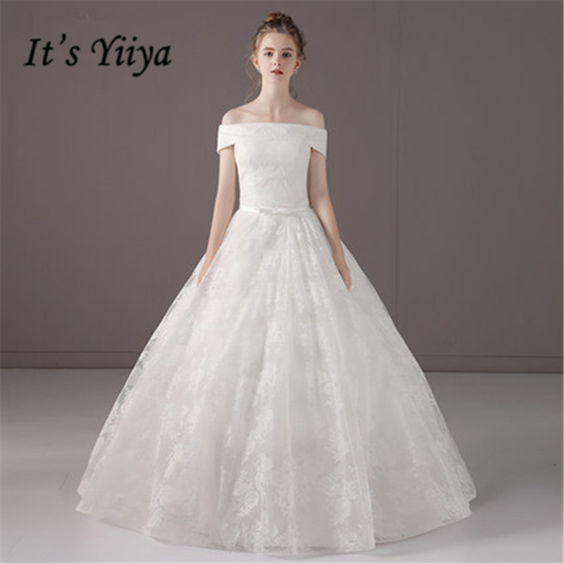 Simple Wedding Dresses Boat Neck: Aliexpress.com : Buy It's YiiYa Boat Neck Floor Length