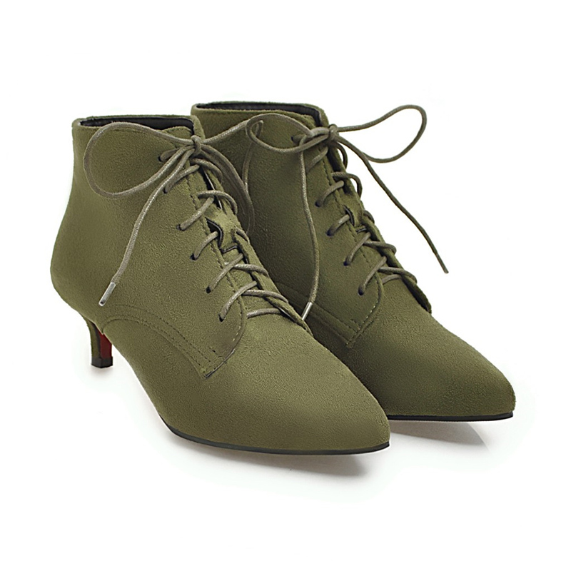 2018 Plus Size 48 Women Kitten 4cm High Heels Ankle Boots Fall Sloffen Green Lace Up Boots Suede Booties Pointy Dress Red Shoes