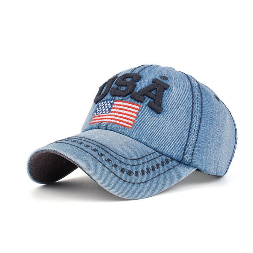 #5 Women Men Usa Denim Rhinestone Baseball Cap Snapback Hip Hop Flat Hat Free Ship