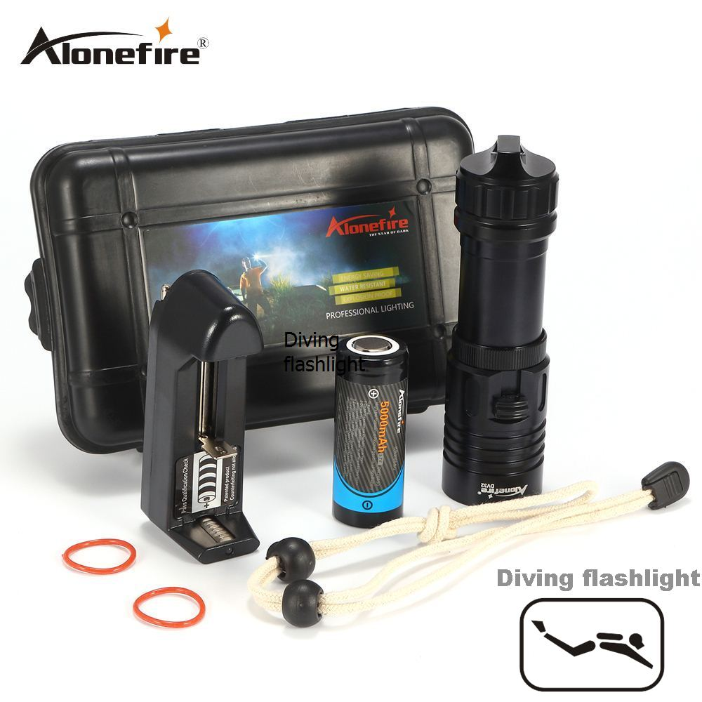 AloneFire DV32 Diving flashlight 18650/26650 LED Underwater Flashlights XM-L2 Waterproof dive light Lamp Torch Portable Lantern 4 xml l2 led diving flashlight torch 18650 26650 lantern underwater professional dive torch waterproof diver lamp light