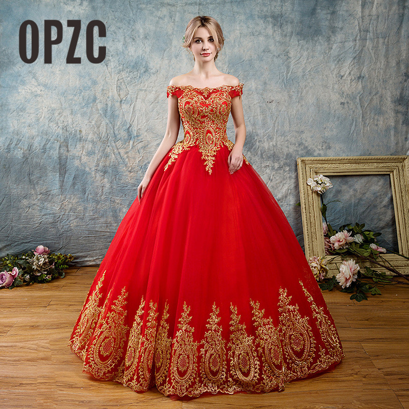 White Blue Red Romantic vintage Gold Lace Appliques Korean Ball Gown Train Wedding Dresses 2019 Plus