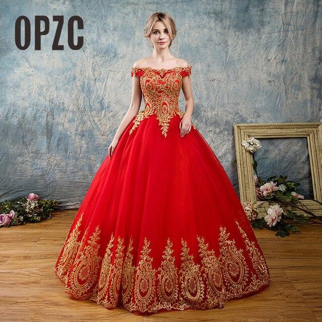 8 שכבות שחור לבן כחול אדום רומנטי בציר זהב תחרת אפליקציות חתונת שמלות בתוספת גודל כלה שמלת סירת צוואר כבוי כתף
