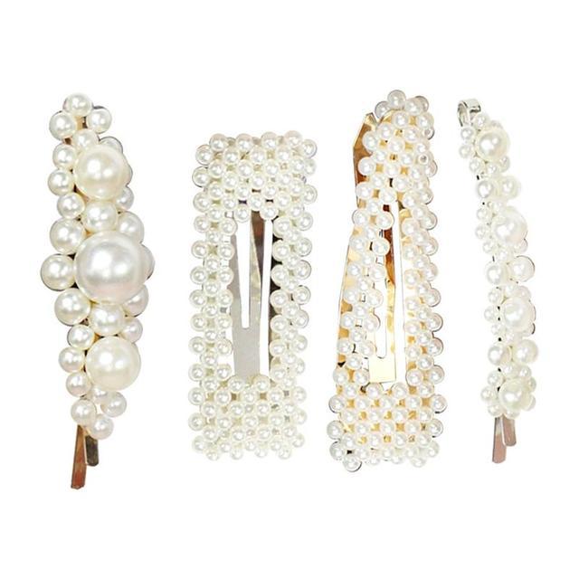 4 piezas de pelo Clips decorativo Simple fresco perla de moda broches pelo herramientas complementos accesorios para el cabello para las niñas y las mujeres damas