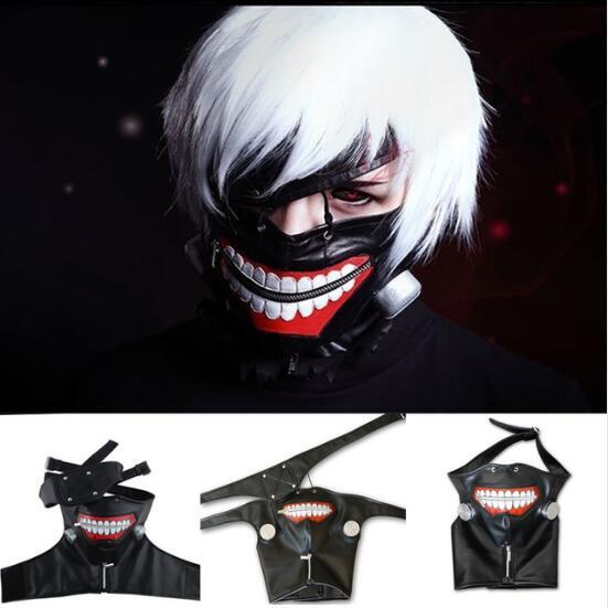 Anime Tokyo Ghoul Kaneki Ken Adjustable Zipper Masks PU Leather Cosplay Mask