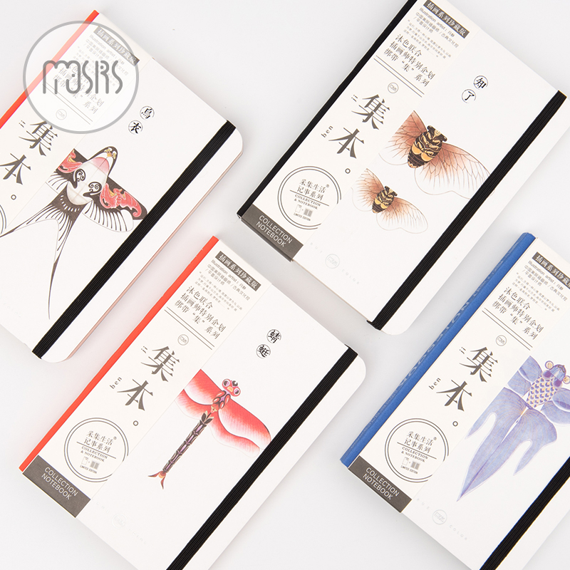 MOUSRS A5 Set The Country Color Series Blank Page Straps Notepad Diary Notebook Sketchbook 1PCS