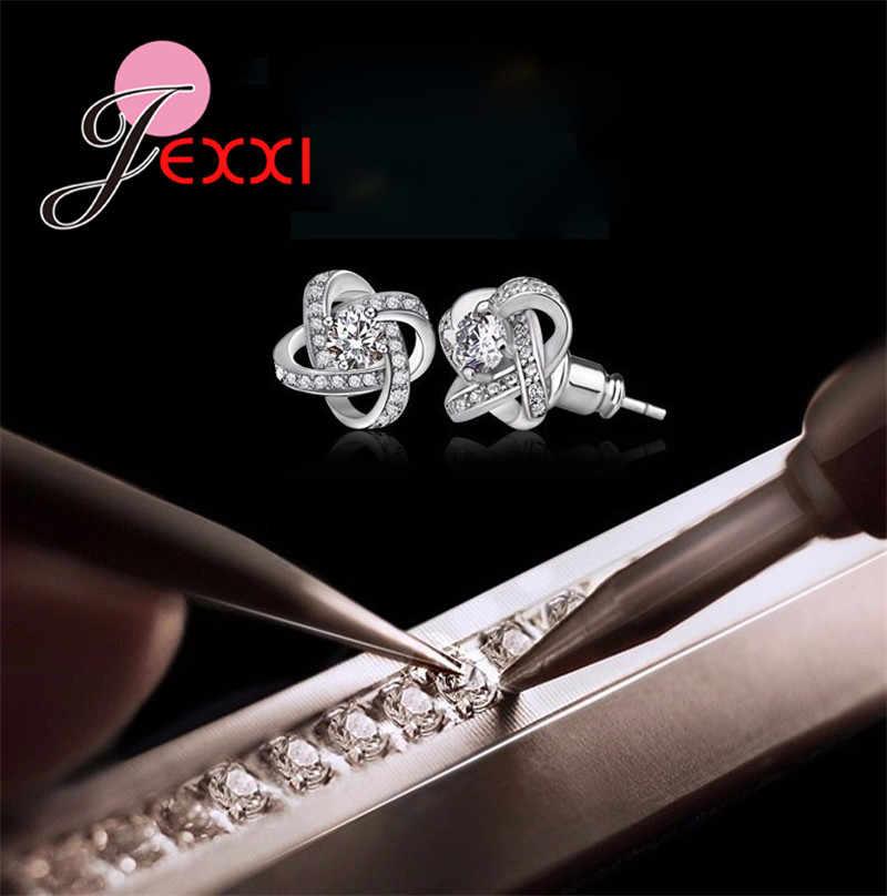 YAAMEL 925 Sterling Silver Crystal Stud Earrings For Women Fashion Luxury Cubic Zirconia Paved Wedding Earring Jewelry Accessory
