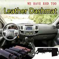 สำหรับ Toyota Hilux fortuner 2004-2014 หนัง Dashmat ฝาครอบแดชบอร์ด Dash SunShade พรมที่กำหนดเองรถจัดแต่งทรงผม LHD + RHD