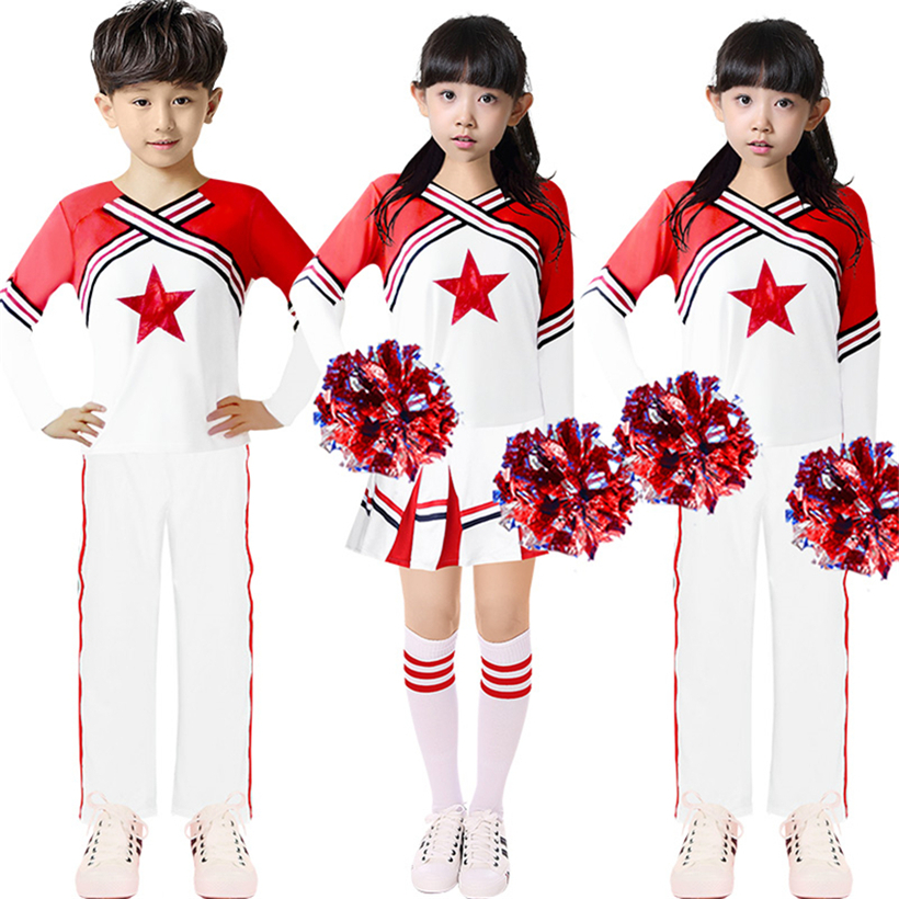 Cheer Dance Cheerleaders Costumes Boys Girls Matching Outfits Games Clothing Cheering Squad Autumn Winter School Team Uniforms