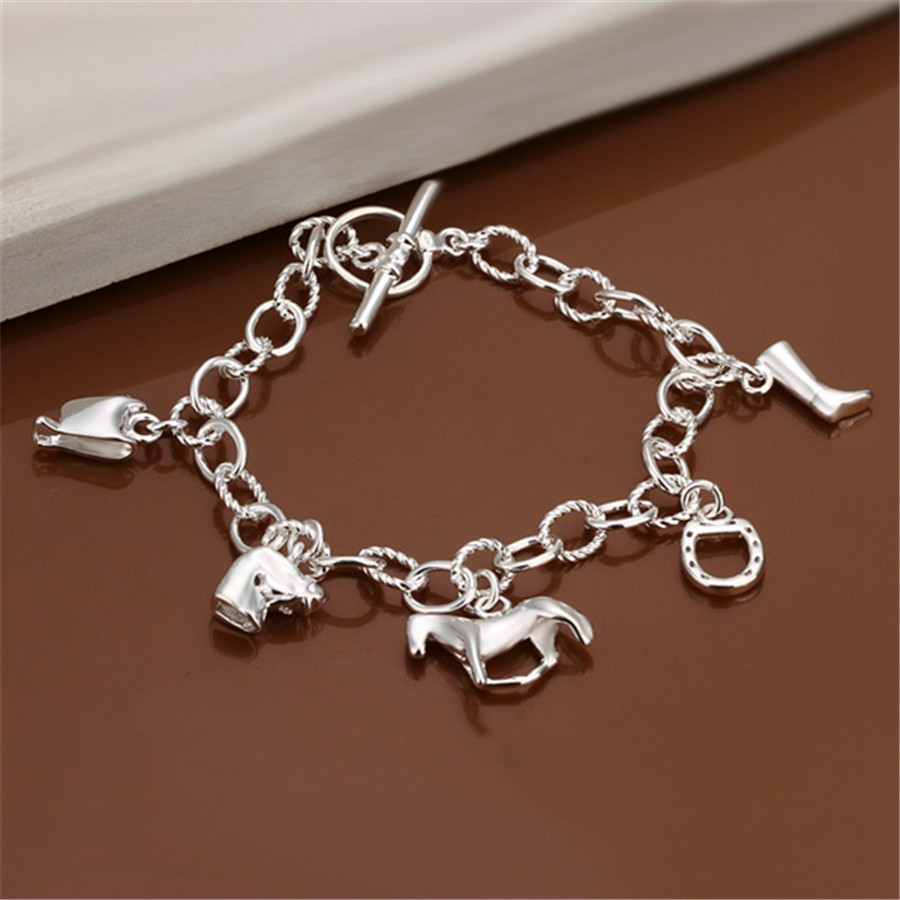 wholesale Beautiful fashion silver plated Bracelet charm Horse Elegant chain high quality classic jewelry H074 Christmas gift