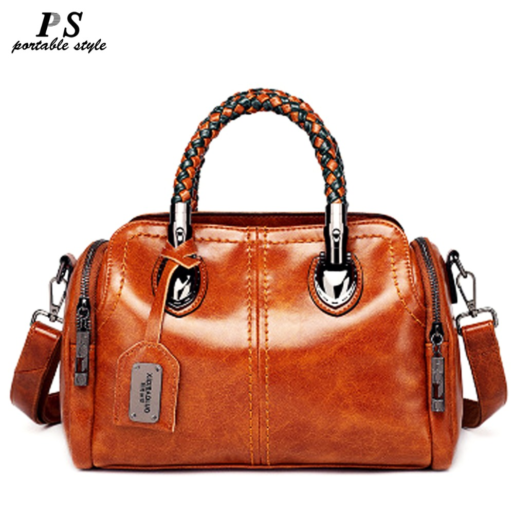 High Quality 100% Genuine Leather Women's Handbags Vintage Shoulder CrossBody Bags For Women Leather Top HandleTote Bags Women
