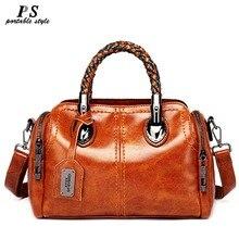 Высокое качество 100% натуральная кожа для женщин сумки Винтаж плеча через плечо для кожаный топ HandleTote