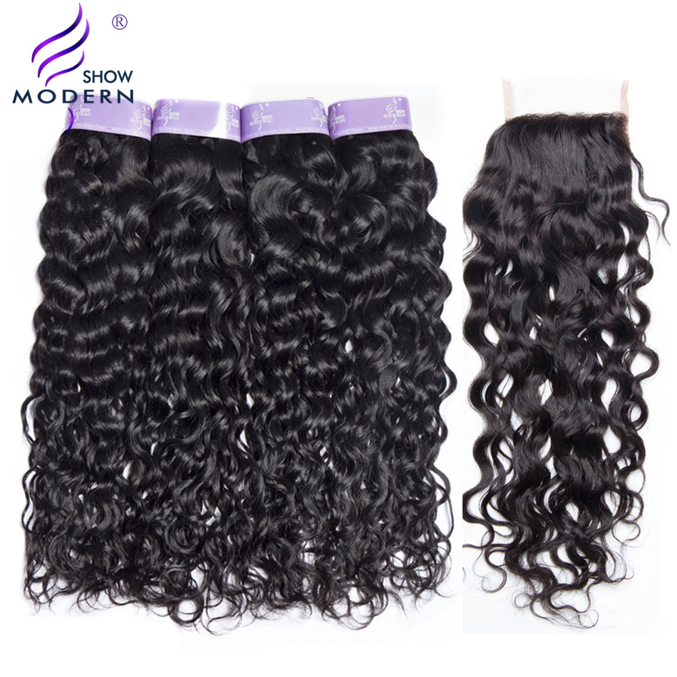 Peruvian Water Wave Bundles With Closure 3 Bundle Non Remy Weave Human Hair Bundles with Closure Free Part 4 Pcs/Lot Modern Show