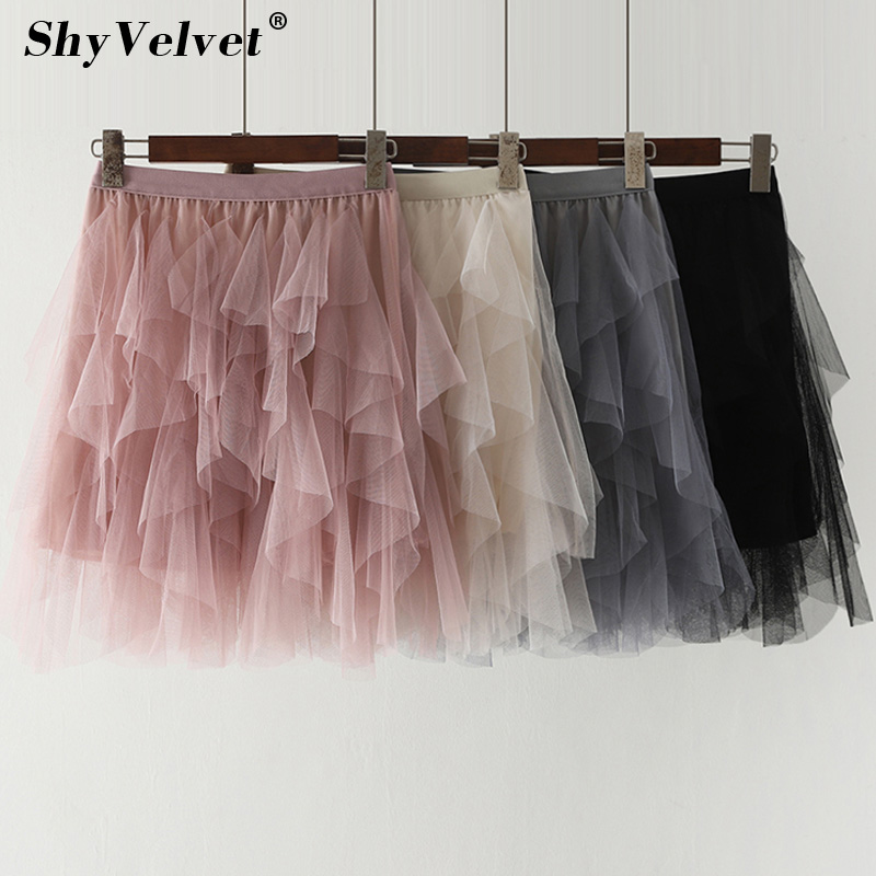 2019 Summer New Mini Tulle Skirt Fluffy Tiered Ruffle Party Club Tutu Skirts Adult Pleated Mesh Skirt