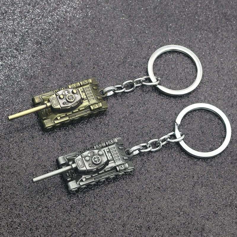 WOT World Of Tanks Keychain 46G Heavy Punk Weapon 3D Tank IS Series Keychains Key Chain Rings For Men Car Holder Keys Llaveros