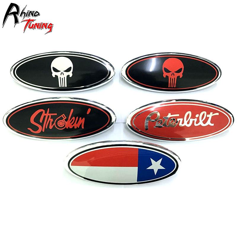 Rhino Tuning ABS The Punisher Skull Texas Car Front Grille Grill Emblem Auto Styling Badge For Explorer F Series 2011-2016 20654 abs decorative led emblem logo light front grille for f ord r anger t7 2016 2017 car styling 4 colors grill lamp