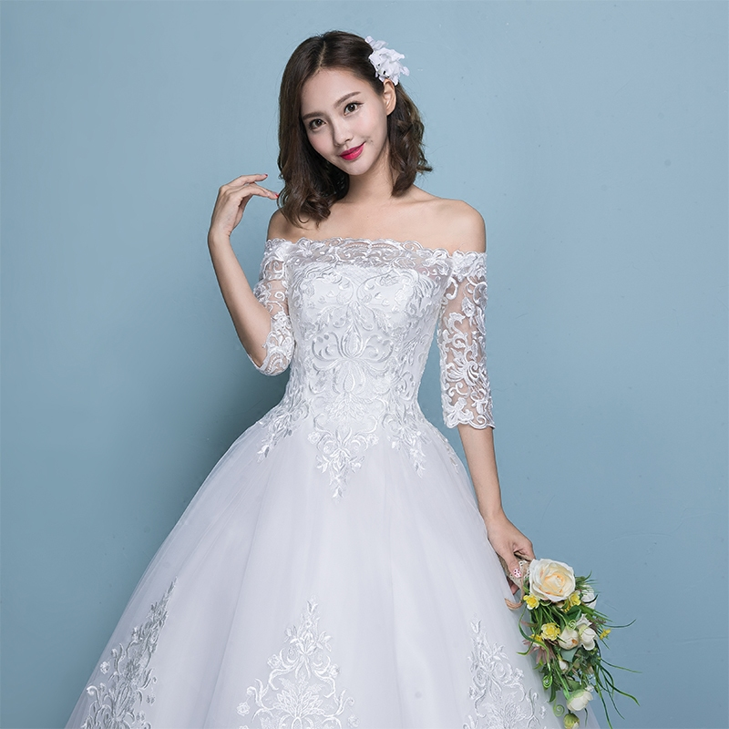 Wedding Dress 2019 New Arrival Butterfly Gelinlik Embroidery Lace Boat Neck Off the Shoulder Princess Gowns Vestidos De Novia - 2