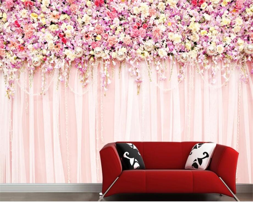 Us 885 41 Offbeibehang Custom Modern Living Room Background Wall 3d Wallpaper Pink Flower Rose Wedding Decoration Papel Pintado 3d Wallpaper In