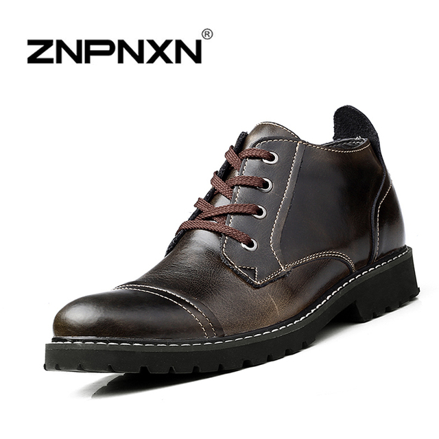 Британский Стиль Натуральная Кожа Зима Теплая Мужчины Сапоги Удобные Зимние Ботинки Высокого Качества Кожаные Ботинки Мужчины Zapatillas Hombre