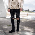 2016 Europe the United States street Kanye West  GD with the big damage Slim jeans male knee hole pants feet  hot