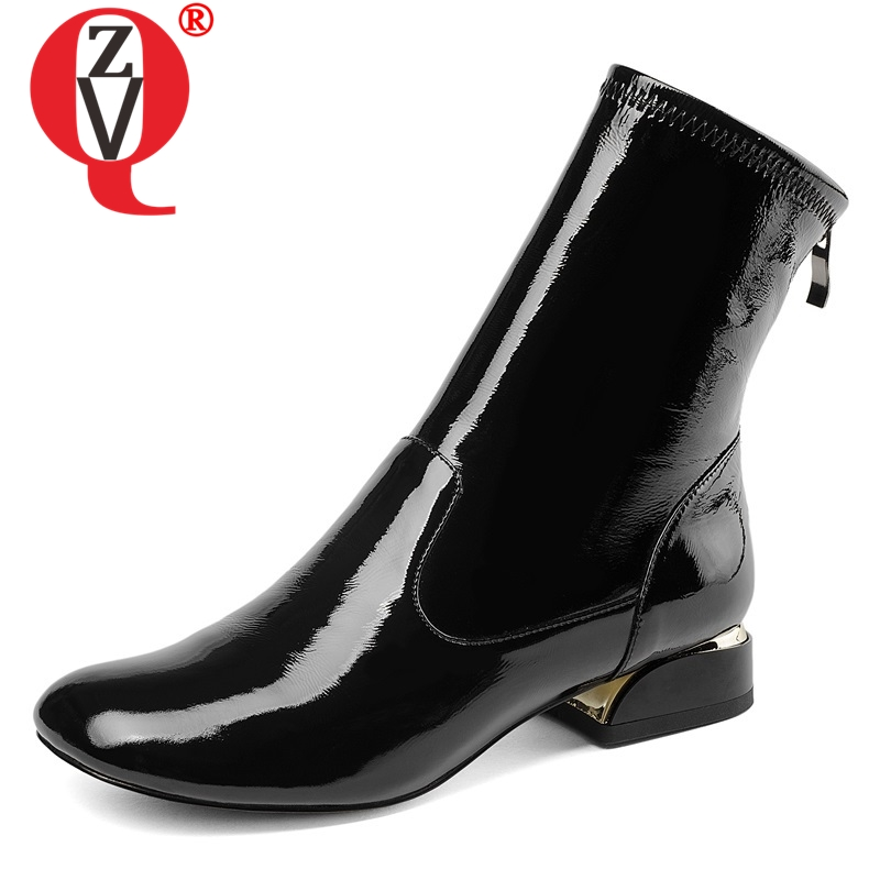 ZVQ shoes women 2019 new fashion concise patent leather square toe zip low square heel black