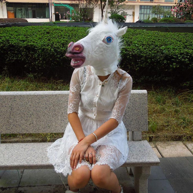Latex Horse Head Mask Halloween Cosplay Costume Party Prop Novelty Creepy Masks Supplies Hogard