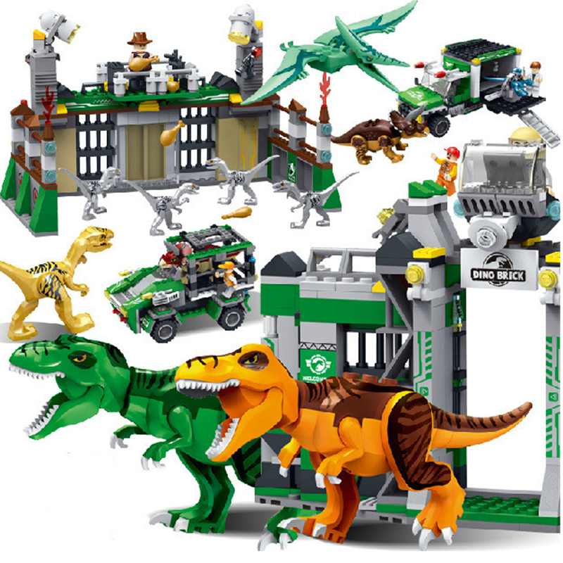 Jurassic World Park Dinosaur Raptor protection zone Building Blocks Sets Bricks Kids Toys juguetes Classic Compatible Legoings mini jurassic world park fossil triceratops raptor skeleton building blocks sets bricks kids model kids creator toys marvel city