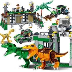 Parque mundial Jurásico dinosaurio rex Raptor zona de protección bloques de construcción juegos de ladrillos juguetes para niños juguetes clásicos dinosaurio bebé