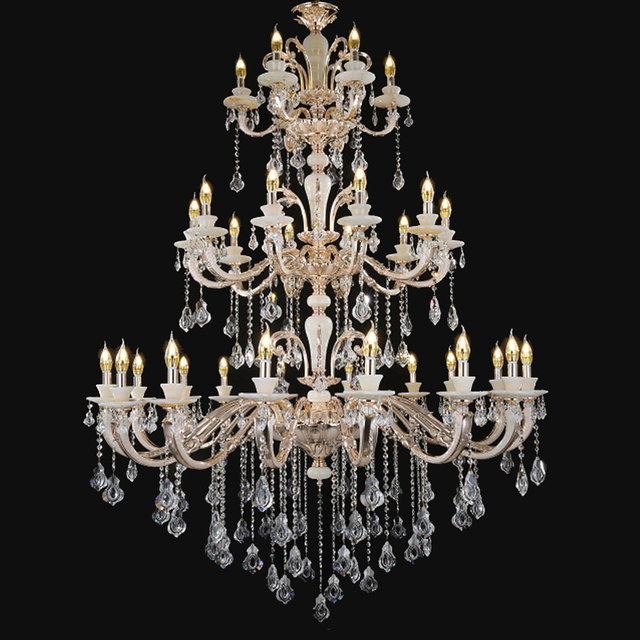 Home Decor Lighting Antique Bronze Chandelier Chihuly Style Chandeliers Candle Holder Gold Crystal Beads Diy