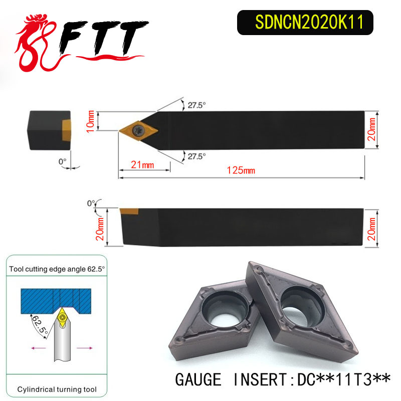 SDNCN2020K11 62.5 Degrees  External Turning Tool Holder For DCMT11T304 DCMT11T308 Used on CNC Lathe Machine