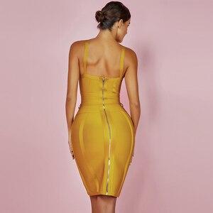 Image 5 - Ocstrade女性包帯ドレス 2020 レーヨンノースリーブ夏新着セクシーなディープvネックvestidoボディコン包帯ドレスクラブパーティー
