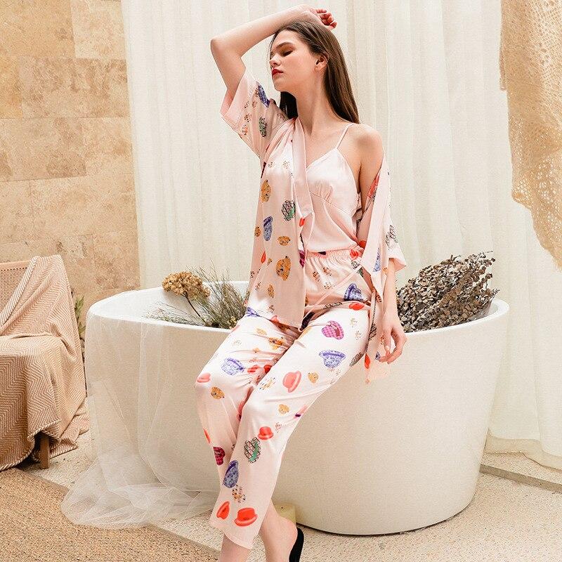Nachthemden 3 Stücke Druck Frauen Pyjamas Satin Sexy Silk Nachtwäsche Camisola Robe Hosen Sets Pijama Weibliche Sommer Shorts Lounge-set Lassen Sie Unsere Waren In Die Welt Gehen