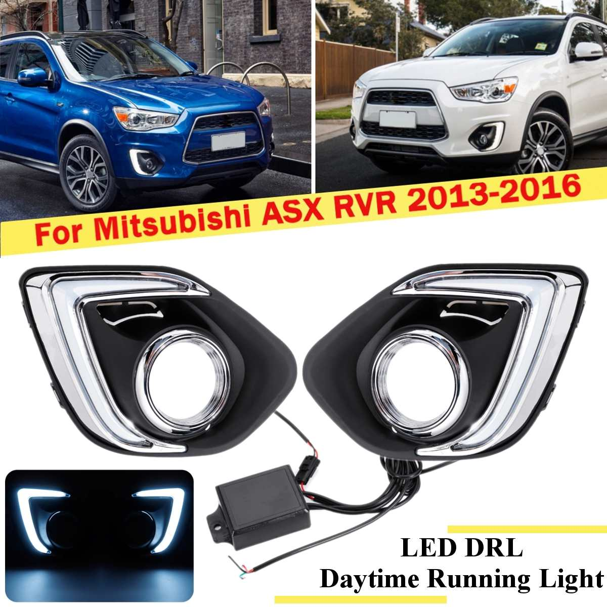 Led Drl For Mitsubishi ASX RVR 2013 2014 2015 2016 Daytime Running Light Front Bumper Driving Fog Lamp Daylight Headlight White