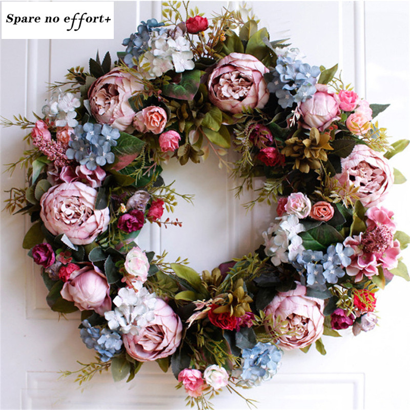 55cm Door Wreath Large Garland Easter Artificial Flower Wreath Wall Hanging Door Decoration Home Decoration Farmhouse