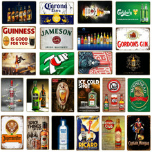Retro Bar Decoration Ice Cold Beer Tin Signs Metal Plaque Wine Whiskey Painting Poster Pub Casino Home Vintage Wall Decor YQ096(China)