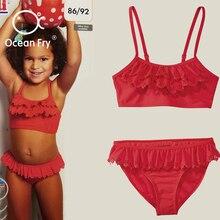 Baby New Swimwear Summer Girls Bikini Split Two-Pieces Swimsuit Childrens High Elasticity Red Wholesale