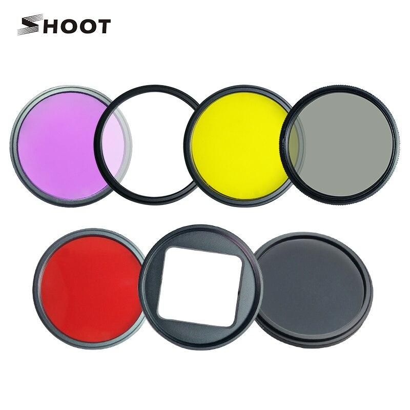 Shoot 52mm sada filtrů Sada žlutá červená CPL FLD ND4 filtr pro Gopro Hero 4 3+ akční kamera s adaptérem objektivu Ring Clean Clot