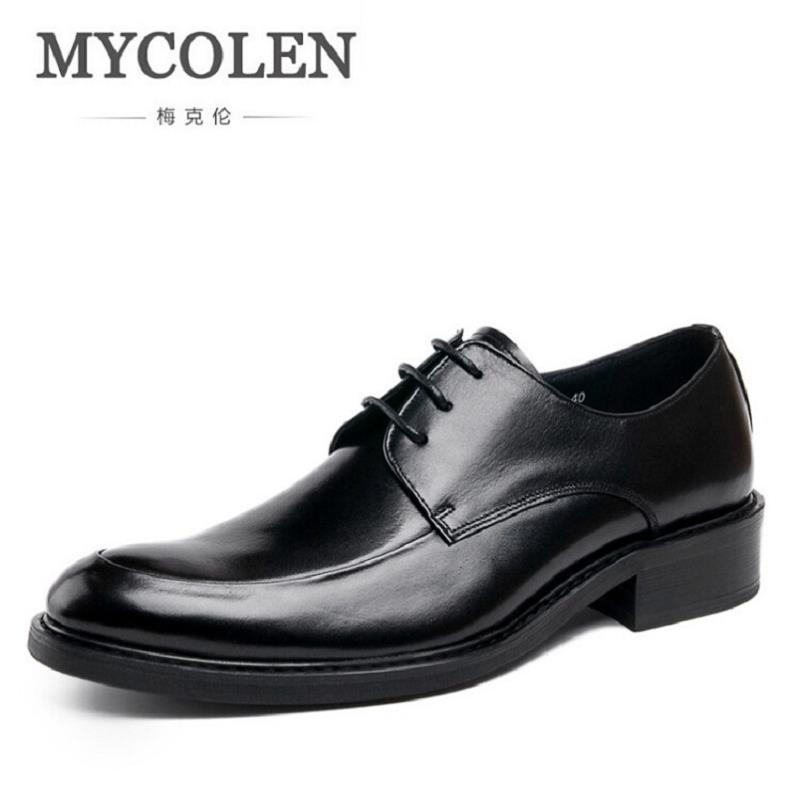 MYCOLEN Luxury Men Dress Shoes Round Toe Lace Up Men's Business Casual Shoes Cow Leather Oxfords Shoes Zapatos Hombre Vestir patent leather men s business pointed toe shoes men oxfords lace up men wedding shoes dress shoe plus size 47 48