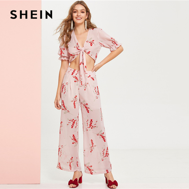 415ead3df0 SHEIN Boho Pink Ruffle Cuff Deep V Neck Knot Crop Top and Wide Leg Palazzo  Pants