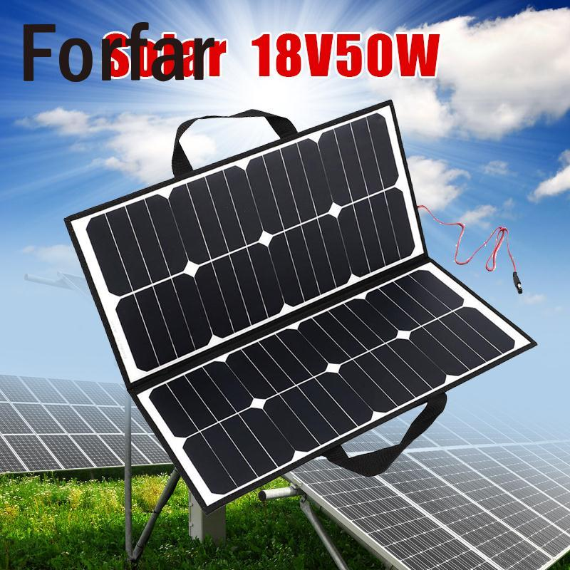 Portable Outdoor 50W 18V Camping Waterproof Folding Solar Panel Board Charger For Battery Covenience Outdoor Camping Tool
