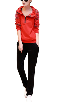 MYPF 2PCS Women Jacket Sweat Pants Suit Sexy Set Track Suit Hoodies