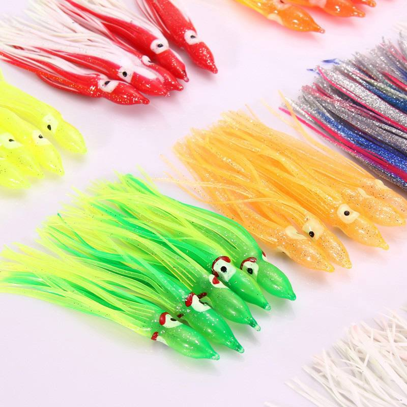 JOSHNESE 100pcs 12cm Mixed Color Soft Silicone Fishing Lures Plastic Octopus Squid Skirt Fishing Lure Saltwater Octopus Bait 8 inch soft skirt bait sea fishing lures game trolling fishing lures resin head with double octopus skirt