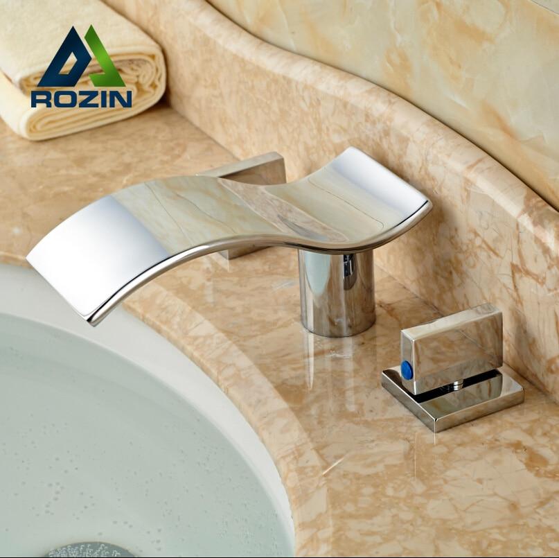 Brass Chrome Bathroom Basin Sink Faucet Widespread Waterfall Dual Handles Mixer Tap Deck Mount contemporary 3 holes basin vessel sink faucet dual handles widespread mixer tap chrome brass