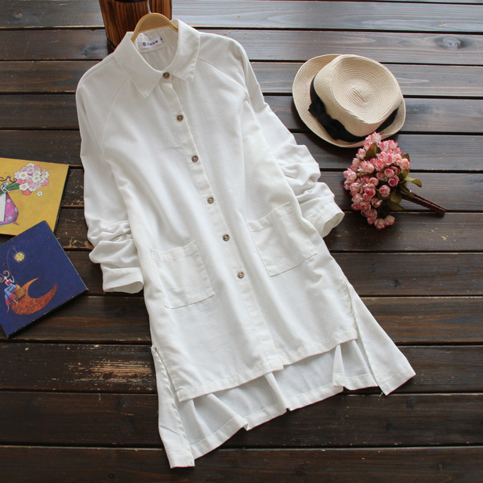 Nuevo 2017 Niña Mori Blusa larga de lino de algodón de color sólido de manga lar