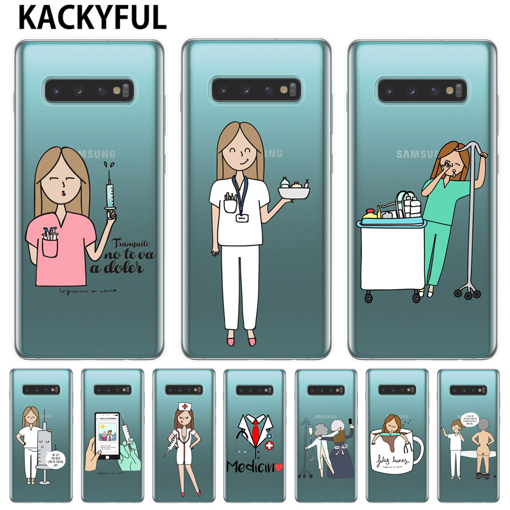 Phone Bags & Cases Fitted Cases Spain Cartoon Medicine Doctor Nurse Case For Samsung Galaxy S10 Lite S10e S10plus M10 M20 Soft Tpu Phone Cover Coque Capa Fundas Beneficial To Essential Medulla