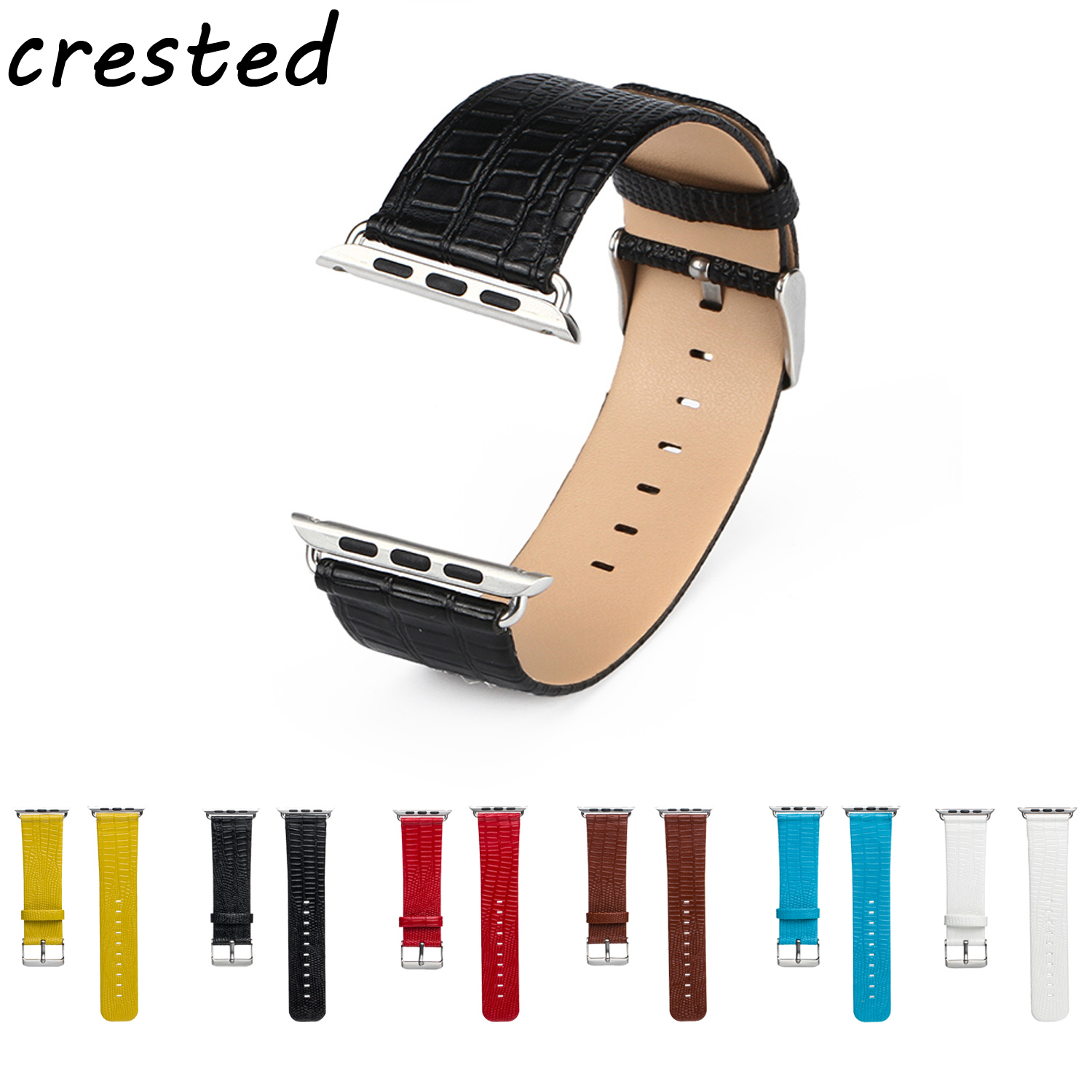CRESTED PU leather watch strap for apple watch band 42 mm/38 replacement Watch Strap for iwatch 1/2/3 belt Lizard pattern band lizard сандали posh moc 38 sand