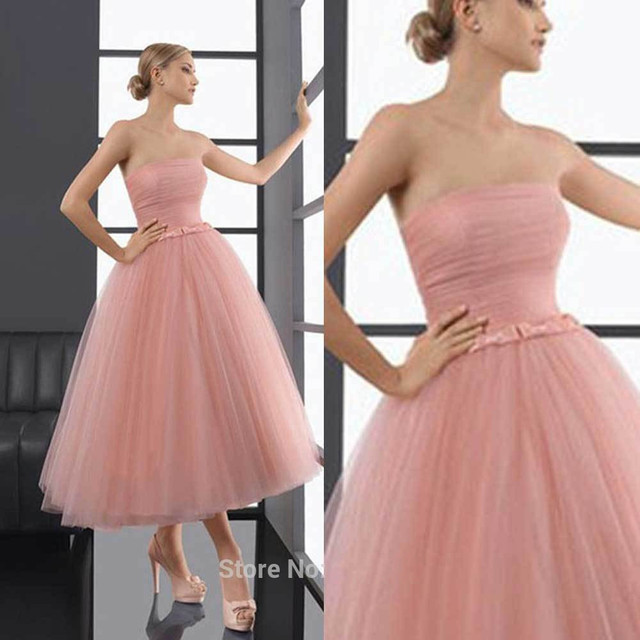 Vestido De Fiesta 2016 New Arrival Vintage Pearl Pink tea length ...