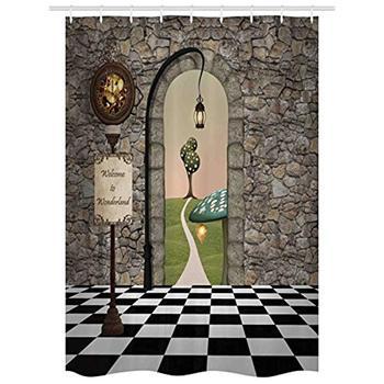 Vixm アリスでワンダーランド歓迎ワンダーランド黒と白の床風景キノコランタンシャワーカーテン