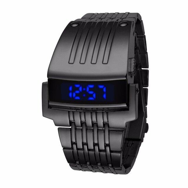 9fb39910e9c Relógio do Homem de Aço de Ferro único Azul Vermelho Digitais LEVOU luxo  Moda militar Esporte